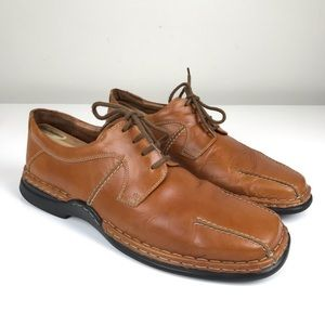 Josef Seibel Tan Brown Leather Lace Up Oxfords